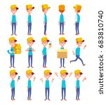 set of guy in different poses.... | Shutterstock .eps vector #683810740