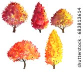 set of autumn trees drawing by... | Shutterstock . vector #683813614