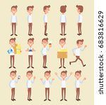 set of young man in different... | Shutterstock .eps vector #683816629
