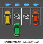 electric car charging at ev... | Shutterstock .eps vector #683824060