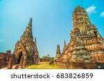 ruined wat temple   in old siam ... | Shutterstock . vector #683826859