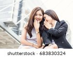 two female co workers... | Shutterstock . vector #683830324