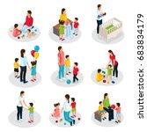 isometric nanny work set | Shutterstock .eps vector #683834179