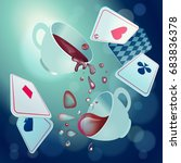 alice in wonderland. playing... | Shutterstock .eps vector #683836378