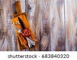 vintage set of cutlery knife ... | Shutterstock . vector #683840320