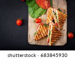 club sandwich panini with ham ... | Shutterstock . vector #683845930