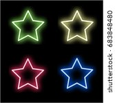 set 4 neon signs of the star.... | Shutterstock .eps vector #683848480