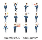 businessman character set on... | Shutterstock . vector #683853409
