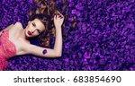 the girl in the petals.... | Shutterstock . vector #683854690