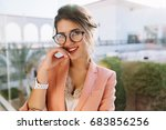 closeup portrait of young... | Shutterstock . vector #683856256