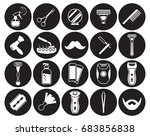 barber  shoving icons set | Shutterstock .eps vector #683856838