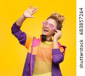 young hipster girl in sportive... | Shutterstock . vector #683857264
