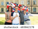 group of students holding a... | Shutterstock . vector #683862178