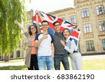 group of students holding a... | Shutterstock . vector #683862190