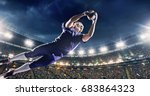 american football player jumps... | Shutterstock . vector #683864323