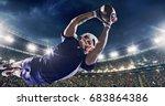 american football player jumps... | Shutterstock . vector #683864386