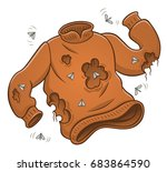 sweater with moth holes.... | Shutterstock .eps vector #683864590