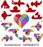 vector tangram heart  geometric ...   Shutterstock .eps vector #683868274
