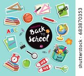 stickers with school supplies... | Shutterstock .eps vector #683870353