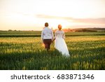 just married loving couple in... | Shutterstock . vector #683871346