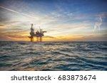 offshore oil installation  | Shutterstock . vector #683873674