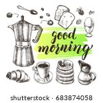 breakfast set. traditional... | Shutterstock .eps vector #683874058
