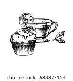 hand drawn sketch of tea cup... | Shutterstock .eps vector #683877154