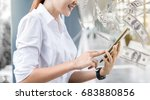 an asian girl looks at her... | Shutterstock . vector #683880856