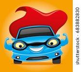 blue car super hero. | Shutterstock .eps vector #683882830