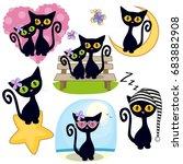 set of cute cartoon black cat... | Shutterstock .eps vector #683882908