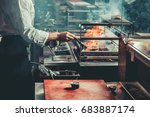 food concept. chef in white... | Shutterstock . vector #683887174