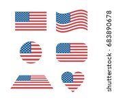 set of usa flags in different... | Shutterstock .eps vector #683890678