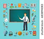 back to school. teacher with... | Shutterstock .eps vector #683894083