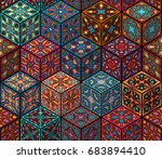colorful vintage seamless... | Shutterstock .eps vector #683894410