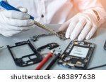 the asian technician repairing... | Shutterstock . vector #683897638