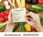 vegetables shopping list | Shutterstock . vector #683901034