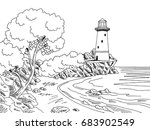 Lighthouse Sea Coast Graphic...