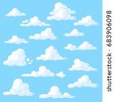 cartoon clouds set on blue...