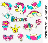 girlish patch badges with... | Shutterstock .eps vector #683906104