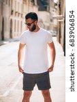 hipster handsome male model... | Shutterstock . vector #683906854