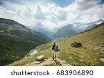 man hiking to matterhorn... | Shutterstock . vector #683906890