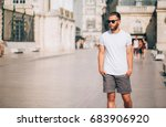 hipster handsome male model... | Shutterstock . vector #683906920