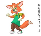 cartoon fox dancing. vector... | Shutterstock .eps vector #683907139