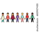 modern multicultural society... | Shutterstock .eps vector #683907430