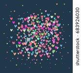 vector cute romantic hearts... | Shutterstock .eps vector #683926030