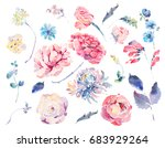 watercolor set of vintage... | Shutterstock . vector #683929264