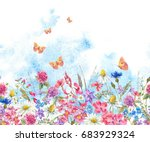 watercolor natural summer... | Shutterstock . vector #683929324