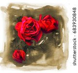 flowers of red roses on... | Shutterstock . vector #683930848