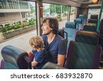 father and son in a public... | Shutterstock . vector #683932870