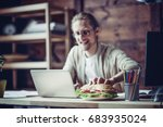 man working at home going to... | Shutterstock . vector #683935024